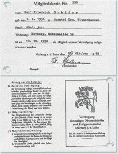 Mitgliedskarte von Karlfried Schäfer, Abijahrgang 1958